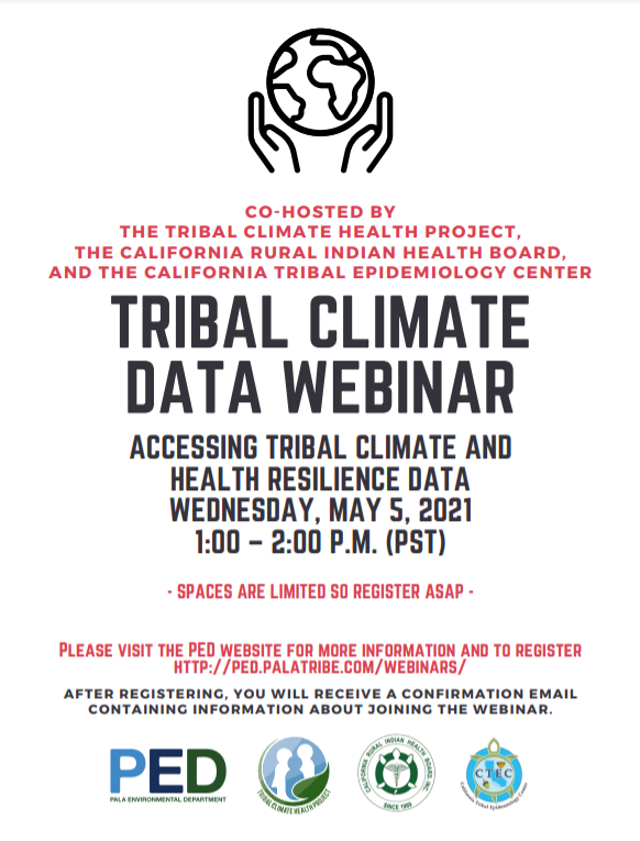 Register for our May 5 Webinar – Accessing Tribal Climate and Health Resilience Data